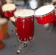 WFL 1955 Red Glass Glitter cocktail kit, 10.5 and 13 inch toms