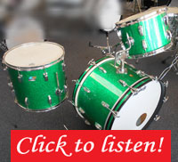 Ludwig, Green Sparkle, Maple Shells, 22, 13, 16