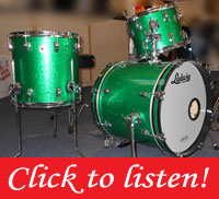 Ludwig, Classic Maple, Green Sparkle, 18, 12, 14