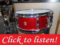 Ludwig, 60s Trans Badge, Red sparkle, 14 X 5